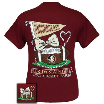 FSU Florida State Seminoles Tallahassee Treasure Pearls Bow T-Shirt