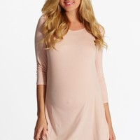 Light Pink Lace Button Back 3/4 Sleeve Maternity Top