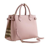 DCCK Tote Bag Handbag Authentic Burberry Medium Banner in Leather and House Check Pale Orchird Item 39970621