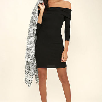 Made with Love Black Off-the-Shoulder Dress