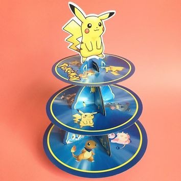 3 Tier Cake Stand Birthday Party Cardboard Decoration Paperboard Pikachu Cupcake Holder Boys Favors Baby Shower SuppliesKawaii Pokemon go  AT_89_9