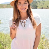 High Desert Lace Up Top Ivory