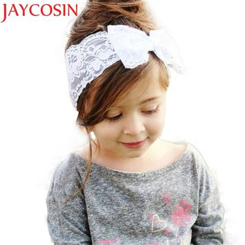 230499af43639 Girls Lace Big Bow Hair Band Girl Head Wrap Band accessories Gir