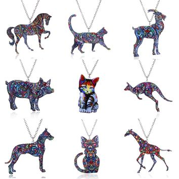 Acrylic Animal Necklace Pet Cat Dragon Pig Bird Wolf Horse Fish Dog Necklace Women Bohemia Jewelry Pendant Ethnic Long Necklace