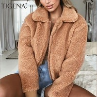 Trendy TIGENA 2018 Autumn Winter Faux Fur Short Jacket Women Long Sleeve Bomber Jacket Coat Female Fluffy Shaggy Zipper Jacket Ladies AT_94_13