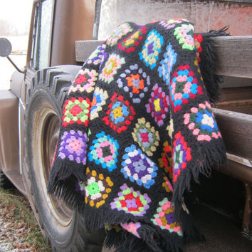 Vintage Granny Square Fringed Afghan Handmade Lovely Bright Colors an Black