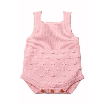 Pink Ribbed&Spotted Cotton Knit Sleeveless Baby Romper