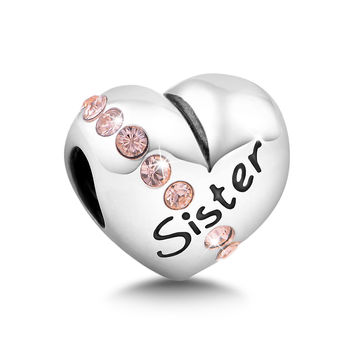 jewellery making supplies 925 sterling silver mother daughter sister charm fits for pan bracelet European style GW Fine Jewelry