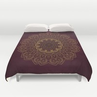 Gold Mandala on Royal Red Background Duvet Cover by Lena Photo Art