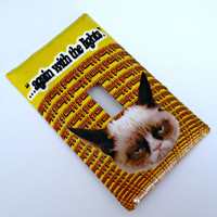 "Single Light Switch Plate Cover-Tard the Grumpy Cat-""Again with the Lights..."" Decoration"