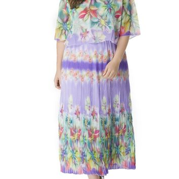 Streetstyle  Casual Charming Floral Printed Chiffon Pleated Plus Size Maxi Dress