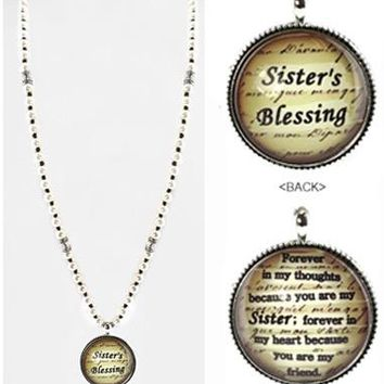 Faux Pearl Sister's Blessing Necklace