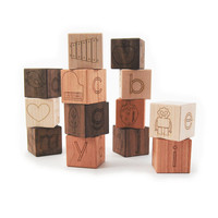 alphabet picture blocks, 13 modern wooden toy letter blocks
