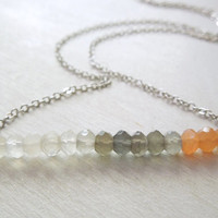 Peach Grey and White Moonstone Necklace - Moonstone Bar Pendant Necklace Silver Chain stone no.1