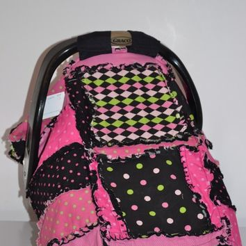 CAR SEAT COVER, Nursing Cover, Rag Quilt, 3 in 1, Pink, Black Argyle, Made to Order