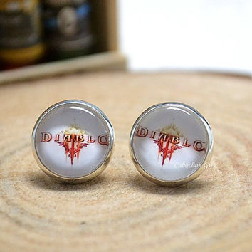 Diablo Stud Earrings, Diablo III Earrings Jewelry , Computer Games Gamer ear stud earrings (E68)