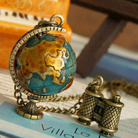 vintage style Globe and the telescope necklace by qizhouhuang