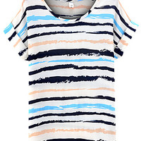 Folded Short Sleeve Striped Blue Top