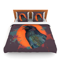 "Lydia Martin ""Raven Sun Alternate"" Orange Purple Queen Fleece Duvet Cover - Outlet Item"