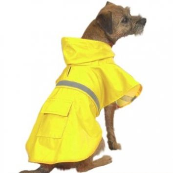 Guardian Gear Yellow Waterproof Hooded Rain Coat Dog Jacket with Reflective Safety Strip, Medium