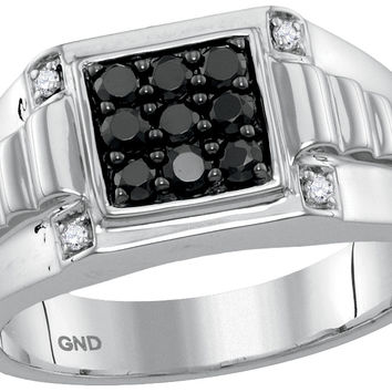 10kt White Gold Mens Round Black Colored Diamond Square Cluster Ribbed Shank Ring 1/2 Cttw 116183