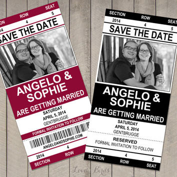 Wedding invitation Save the Date - Ticket concert/sport - Digital file
