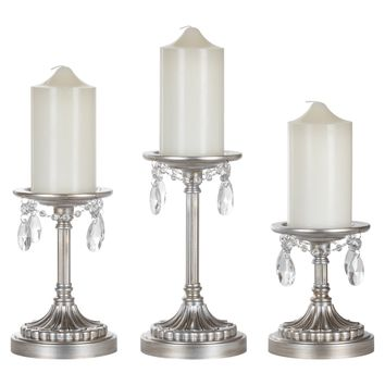 3-Piece Antique Crystal-Draped Pillar Candle Holder Set (Silver)