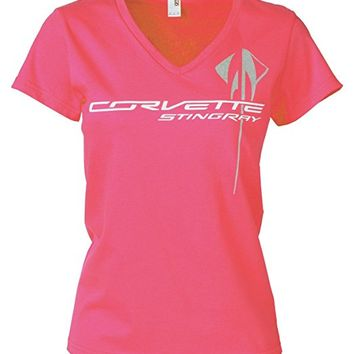 Corvette Ladies C7 Overlay T-Shirt Hot Pink