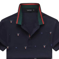 GUCCI 2019 new personality embroidered men's polo shirt half sleeve t-shirt Navy blue