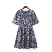 Stylish Round-neck Butterfly Print Short Sleeve Plus Size Slim Women's Fashion Skirt One Piece Dress [5013281540]