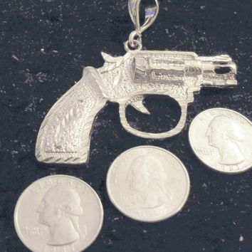 bling sterling silver plated 38 special gun pistol military police pimp thug dealer pusser enforcer weapon trendy fashion hip hop charm pendant 24 inch rope chain necklace jewelry