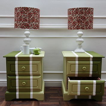 set of two bedside tables with padded drawers by revived furniture | notonthehighstreet.com
