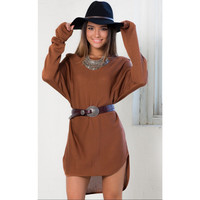Brown Semi-Off the Shoulder Butterfly Sleeve Dipped Hem Dress