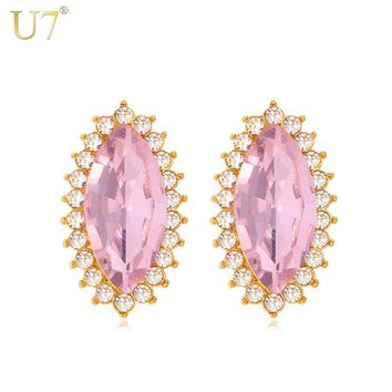 U7 Crystal Pink Earrings Trendy Gold Color 7 Colors Luxury Crystal Rhinestone Jewelry Earrings For Women E444