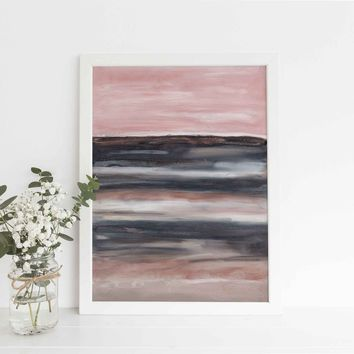 Blush Pink and Navy Landscape Inspired Abstract Wall Art Print