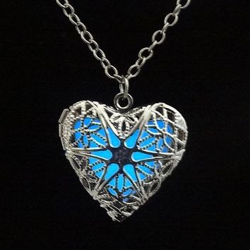 Glowing Heart Locket Necklace