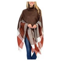 Turtleneck Plaid Poncho, Mocha