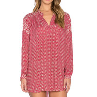 Velvet by Graham & Spencer Alima Casablanca Print Long Sleeve V Neck Top in Red & Cream