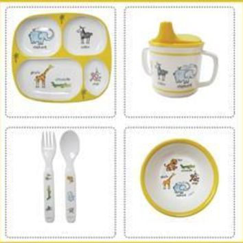 Jungle Animals Melamine Dinnerware 4 pcs