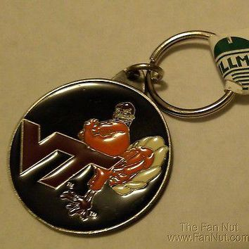 Virginia Tech Hokies PREMIUM Pewter Medallion Keychain Key Chain University of