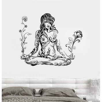 Vinyl Wall Decal Meditation Woman Girl Pattern Yoga Stickers Unique Gift (ig4095)