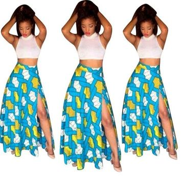 Summer Women 2 Piece Set Sexy Cropped Tops Print Vintage Retro High Neck Long Party Maxi Skirt Sets OS7076