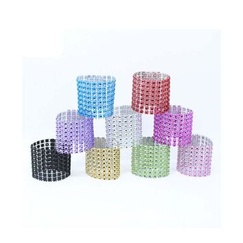 Cheap 9 Style  50Pcs/Lot Plastic diamond package napkin ring napkin buckle napkin hotel wedding supplies home decoration
