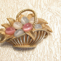 Basket Brooch, Crown Trifari, Easter Eggs, Pastel Moonglow Cabochons, Vintage Gold Pin