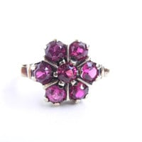 10K Gold Pink Stone Flower Ring - Antique Size 7 Fine Jewelry / Victorian Pink Petals