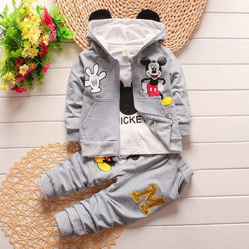 2016 winter children's clothing set kids Cartoon Mickey Mouse T-shirt hoodie coat + pants 3pcs suit baby boy cotton set 1-4years