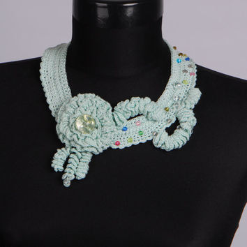Mint necklace,Knit jewelry,Crochet bib,Knit necklace,Crochet earrings,Knitted flower,Elegant necklace,Unique Necklaces For Women,Gift