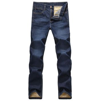 Men's Velvet Lined Straight Jeans