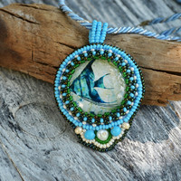Marine themed necklace Gift for sister Beadwork Fish Bluish pendant Beadwork Maritime necklace Ocean themed gift for her Gift idea for women
