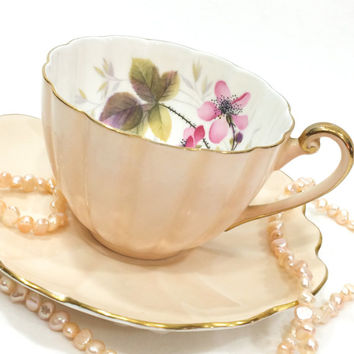 Shelley Tea Cup and Saucer, Woodland Rose, Soft Peach or Fawn, English Tea Cup, Mismatched Set, Bone China, Vintage